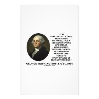 George Washington Virtue Morality Popular Gov't Stationery