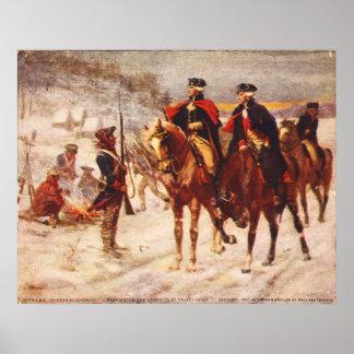 George Washington y Lafayette en la fragua del val Posters