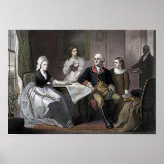 George Washington y su familia Póster