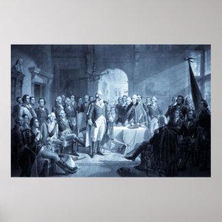 George Washington y su impresión de los generales Póster
