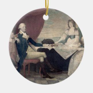 George Washington y su ornamento de la familia Adorno Navideño Redondo De Cerámica