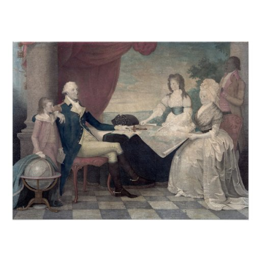 George Washington y su poster de la familia/impres