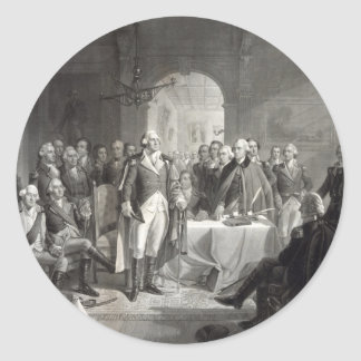 George Washington y sus pegatinas de los generales Etiquetas Redondas