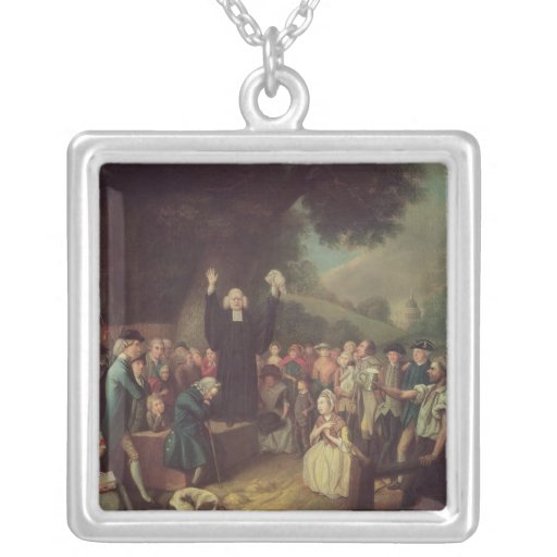 George Whitefield preaching Square Pendant Necklace