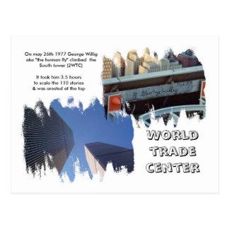 george willig climbs trade center postcard