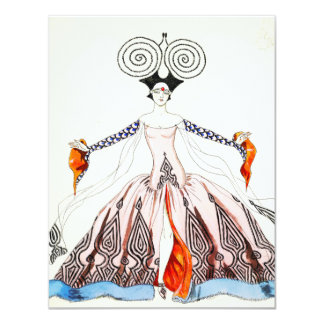 "Georges Barbier Art Deco Fashion Note Card 4.25"" X 5.5"" Invitation Card"