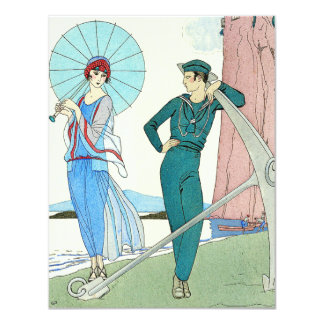 """Georges Barbier Lady at the Beach Invitations 4.25"""" X 5.5"""" Invitation Card"""