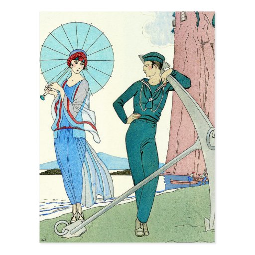 Georges Barbier Lady at the Beach Postcard