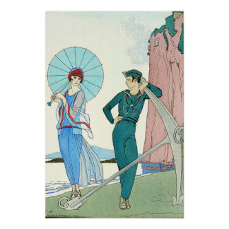 Georges Barbier Lady at the Beach Poster