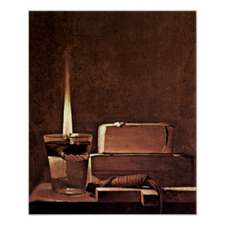 Georges de La Tour - Candle and books Poster