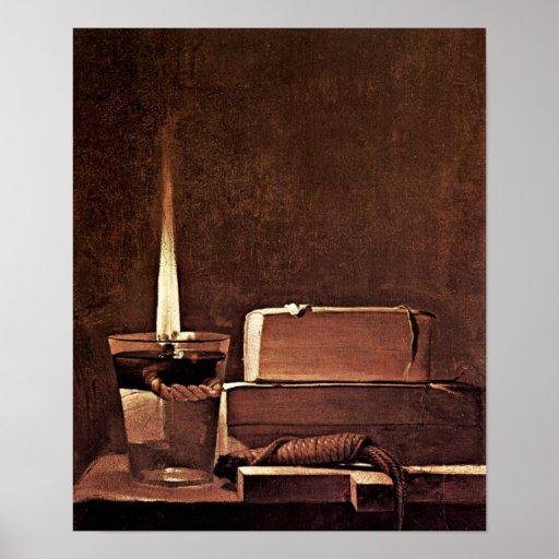 Georges de La Tour - Candle and books Poster