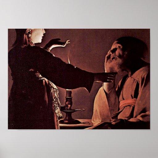 Georges de La Tour - el ángel aparece a StJoseph Poster