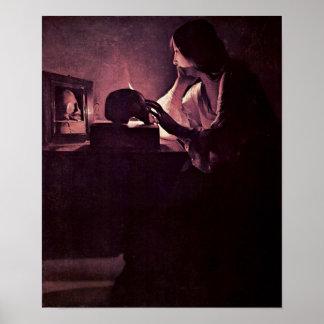 Georges de La Tour - Penitent Maria Magdalena Póster