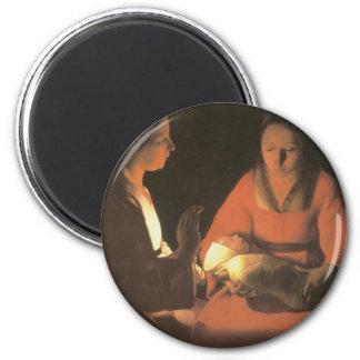 Georges de la Tour, The New Born Child 1645 2 Inch Round Magnet