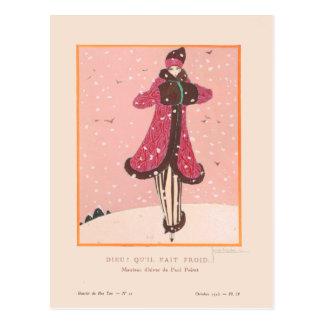 Georges Lepape Vintage Art Deco Fashion It's Cold Postcard