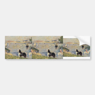 Georges Seurat- Horses in the Water Car Bumper Sticker