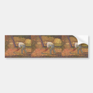 Georges Seurat- Peasant with Hoe Bumper Sticker