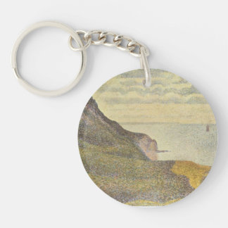Georges Seurat- Port-en-Bessin, Semaphore & Cliffs Single-Sided Round Acrylic Keychain