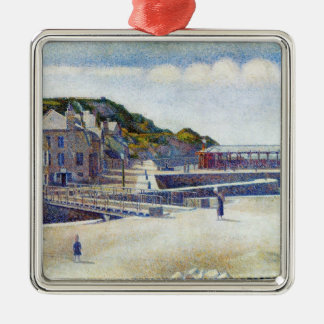 Georges Seurat- The Harbour and the Quays Square Metal Christmas Ornament