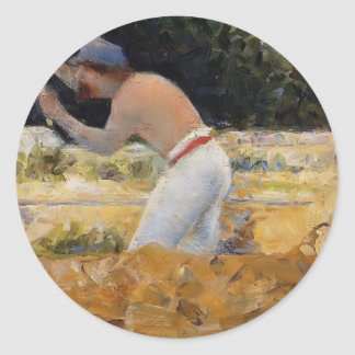 Georges Seurat- The Stone Breaker Round Sticker