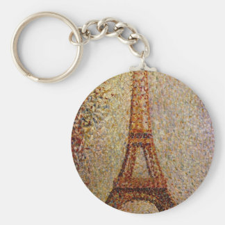 Georges Seurat's Painting: The Eiffel Tower (1889) Basic Round Button Keychain