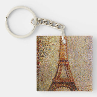 Georges Seurat's Painting: The Eiffel Tower (1889) Double-Sided Square Acrylic Keychain