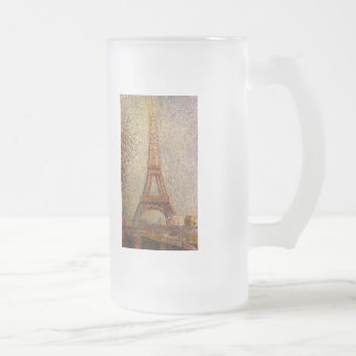 Georges Seurat's Painting: The Eiffel Tower (1889) Frosted Glass Beer Mug
