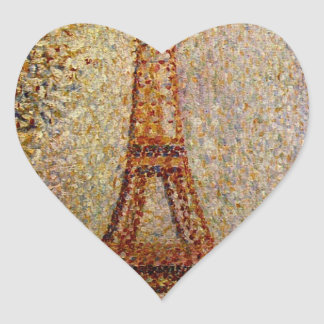 Georges Seurat's Painting: The Eiffel Tower (1889) Heart Sticker