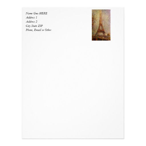 Georges Seurat's Painting: The Eiffel Tower (1889) Letterhead Template