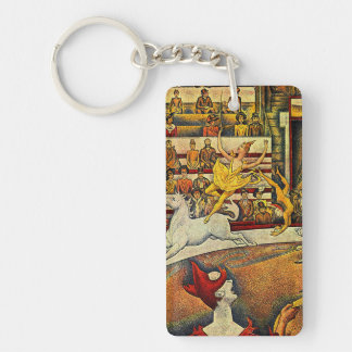 Georges Seurat's The Circus (1891) - Clown & Rider Double-Sided Rectangular Acrylic Keychain