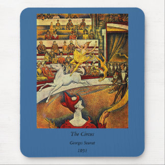 Georges Seurat's The Circus (1891) - Clown & Rider Mouse Pad