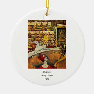 Georges Seurat's The Circus (1891) - Clown & Rider Christmas Ornament