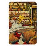 Georges Seurat's The Circus (1891) - Clown & Rider Rectangular Magnets