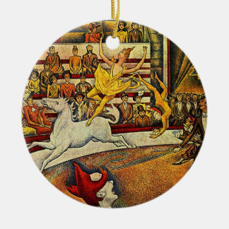 Georges Seurat's The Circus (1891) Christmas Ornaments