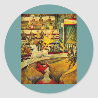 Georges Seurat's The Circus (1891) Round Sticker