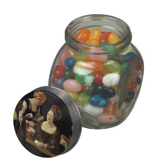 Georges Tour- The Cheat with the Ace of Diamonds Glass Candy Jar