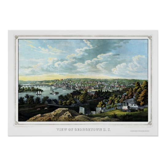 Georgetown, D.C. Panoramic Map - 1855 Poster