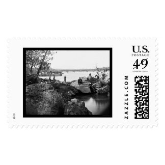 Georgetown Ferry-Boat Carrying Wagons 1865 Stamp