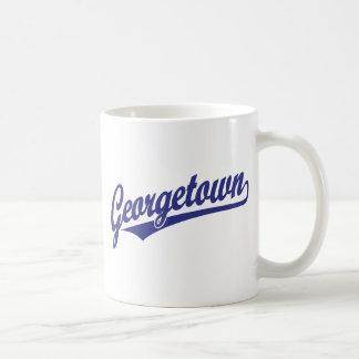 Georgetown script logo in blue classic white coffee mug