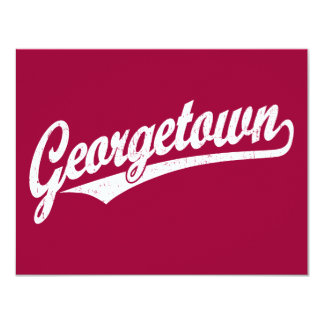 Georgetown script logo in white distressed announcements