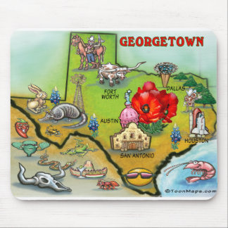 Georgetown Texas Cartoon Map Mouse Pad