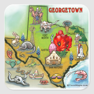 Georgetown Texas Cartoon Map Square Sticker