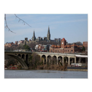 Georgetown Waterfront Key Bridge Print