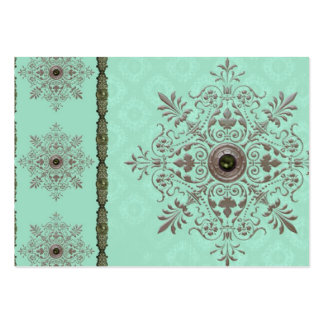 GEORGETTE'S BROCADE, VINTAGE in AQUA and OLIVE Large Business Cards (Pack Of 100)