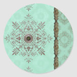 GEORGETTE'S BROCADE, VINTAGE in AQUA and OLIVE Classic Round Sticker