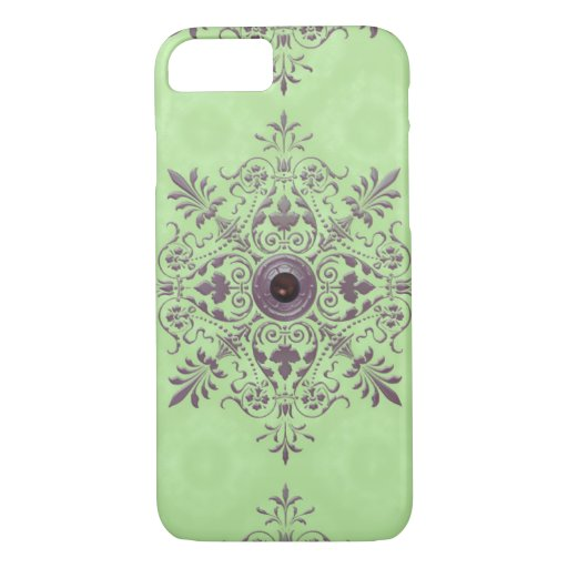 GEORGETTE'S BROCADE, VINTAGE in GREEN and TAUPE iPhone 8/7 Case