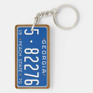 Georgia 1970 Vintage License Plate Keychain Rectangle Acrylic Keychains