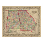 Georgia, Alabama Map by Mitchell Poster