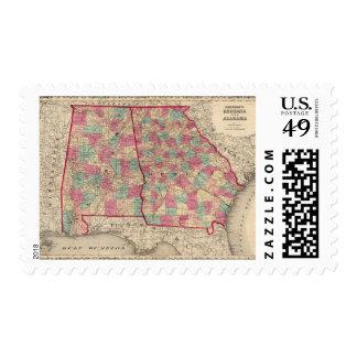 Georgia and Alabama Postage Stamp