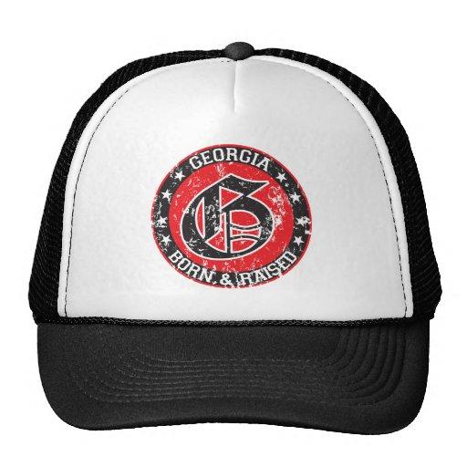 Georgia born raised dark.png trucker hat